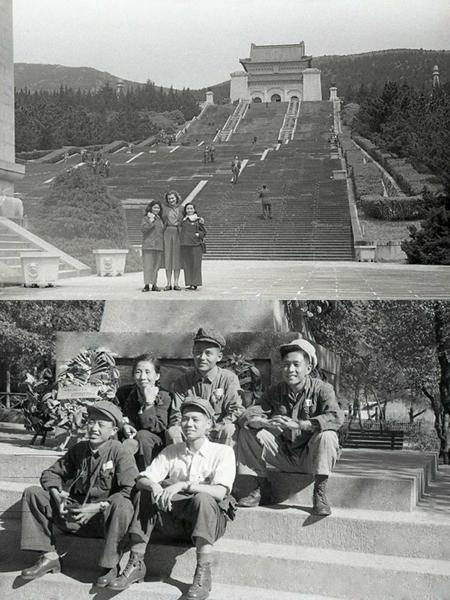 丝瓜成版人性视频app1952年摄制纪录片《匈牙利国家人民文工团在中国》,上图张建珍与外宾在南京中山陵,下图与摄制组合影。