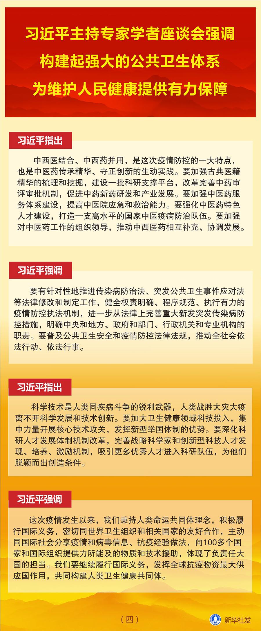 图表:习近平主持专家学者座谈会强调 构建起强大的公共卫生体系 为维护人民健康提供有力保障(四) 新华社发