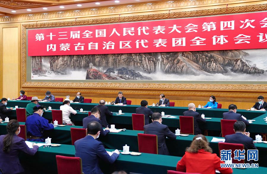 3月5日,中共中央总书记、国家主席、中央军委主席习近平参加十三届全国人大四次会议内蒙古代表团的审议。新华社记者 谢环驰 摄