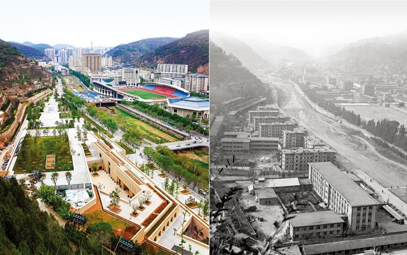 这是一张拼版照片,左图为2019年5月5日拍摄的延安市南河河道(新华社记者 刘潇/摄);右图为1983年12月26日拍摄的延安市南河河道(资料照片)。