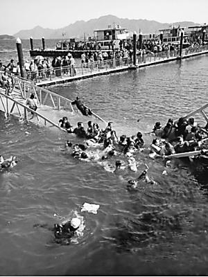 江西庐山西海景区免票大量游客冲入压塌引桥