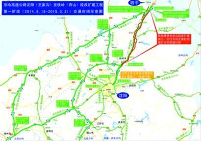 南行方向因京哈高速公路吉林段改扩建施工