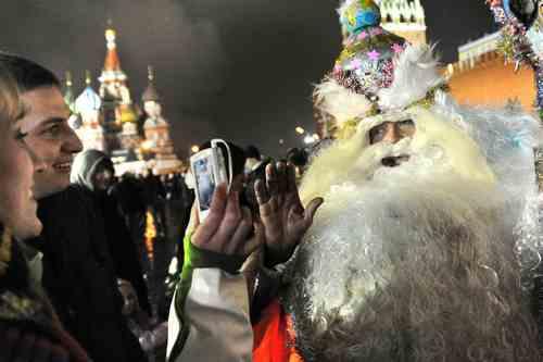 Празднование Нового года на Красной площади в Москве