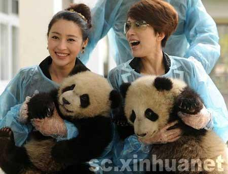 Stars Jin Qiaoqiao and Gan Tingting, got a rare opportunity to visit with the pandas.