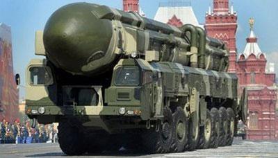 ARussianTopol-MintercontinentalballisticmissileparadesthroughRedSquareinMoscow.(AFP/File/DmitryKostyukov)