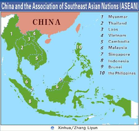 Graphics shows locations of China and Southeast Asian Nations (ASEAN). (Xinhua/Zhang Liyun)