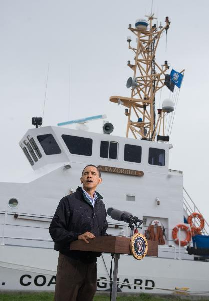 U.S. President Barack Obama talks after touring the Coast Guard Venice Center in the Gulf of Mexico region to view environmental damage caused by the sinking of BP's oil and gas Deepwater Horizontal drilling rig while in Venice, Louisiana, May 2, 2010.(Xinhua/AFP Photo)