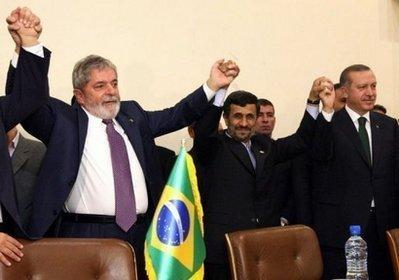 FromL:BrazilianPresidentLuizInacioLuladaSilva,IranianPresidentMahmoudAhmadinejadandTurkishPrimeMinisterRecepTayyipErdoganposeforapictureinTehran.IranagreedonMondaytoshipmuchofitslowenricheduraniumabroadinanuclearfuelswapdealbackedbyTurkeyandBrazilbutgreetedscepticallybyworldpowersseekingnewsanctionsagainstTehran.(AFP/AttaKenare)
