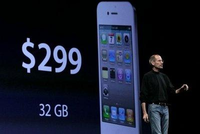 Apple CEO Steve Jobs announces pricing for the new iPhone 4 as he delivers the opening keynote address at the 2010 Apple World Wide Developers conferencein San Francisco, California. Jobs showed off a next-generation iPhone on Monday that features the ability to shoot and edit high-definition quality video and a crisp higher-resolution screen.… Read more »(AFP/Getty Images/Justin)