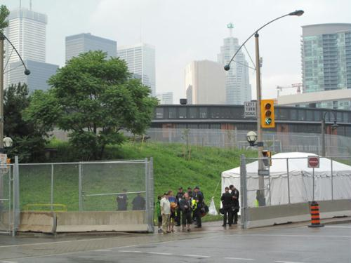 Security drills are paving the way for the G-20 Summit in Toronto, which will take place on Saturday. Roadblocks were placed near the city's Conventional Center, where the summit will be held.