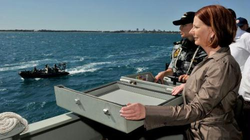 Prime Minister Julia Gillard aboard patrol boat HMAS Broome in Darwin harbour.Picture: Brad Fleet Source: Northern Territory News