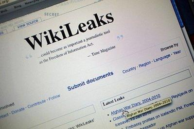 The homepage of the WikiLeaks.org website is seen on a computer after leaked classified military documents were posted. The leak of some 90,000 secret US military files triggered outrage Monday from nations fighting in Afghanistan, amid fears it could endanger the lives of international forces battling the Taliban.(AFP/Getty Images/Joe Raedle)
