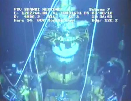 Video image captured August 3, 2010 from a BP live feed shows the containment capping stack on the blown-out oil well in the Gulf of Mexico. BP said it started pumping drilling mud on Tuesday as part of the static kill operations hoping to plug the blown-out oil well for good. (Xinhua/BP Live Feed)