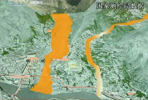 The State bureau of Surveying and Mapping released a 3-Dimensional map of the Zhouqu Disaster area. With this map, rescue efforts will be more efficient and the pace of the operation will be faster.