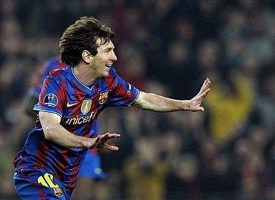 Barcelona'sLionelMessicelebratesafterscoringduringtheirUEFAChampionsLeaguematchvsStuttgartattheCampNoustadiuminBarcelona.Barcawon4-0.(AFP/LluisGene)