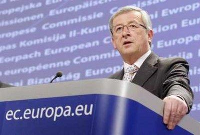 Luxembourg's Prime Minister Jean-Claude Juncker, who is also Chairman of the Eurogroup, speaks during a news conference with European Commissioner for Finance Olli Rehn (not pictured) in Brussels April 11, 2010. Euro zone finance ministers agreed unanimously at a Eurogroup teleconference on Sunday on how to help Greece if needed. REUTERS/Sebastien Pirlet