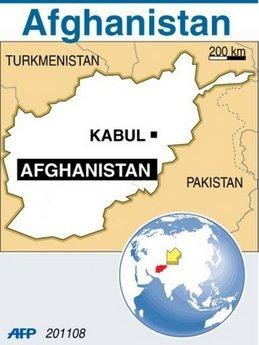 A map of Afghanistan locating the capital Kabul. NATO foreign ministers sealed Friday a plan for international troops and civilian staff in Afghanistan to hand over responsibility to the local military and government. (AFP/Graphic)