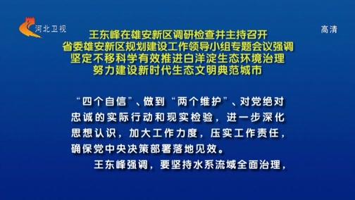 [河北新闻联播]王东峰在雄安新区调研检查并主持召开省委雄安新区规划建设工作领导小组专题会议