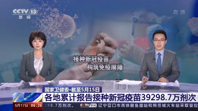 [朝闻天下]国家卫健委・截至5月15日 各地累计报告接种新冠疫苗39298.7万剂次央视网2021年05月17日06:35