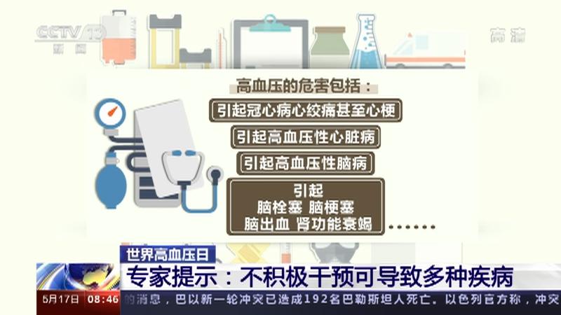 [朝闻天下]世界高血压日 专家提示:不积极干预可导致多种疾病央视网2021年05月17日09:09