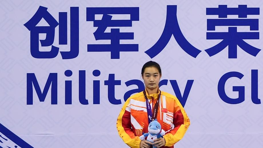 [图]军运会跳水女子1米板 中国选手包揽冠亚军