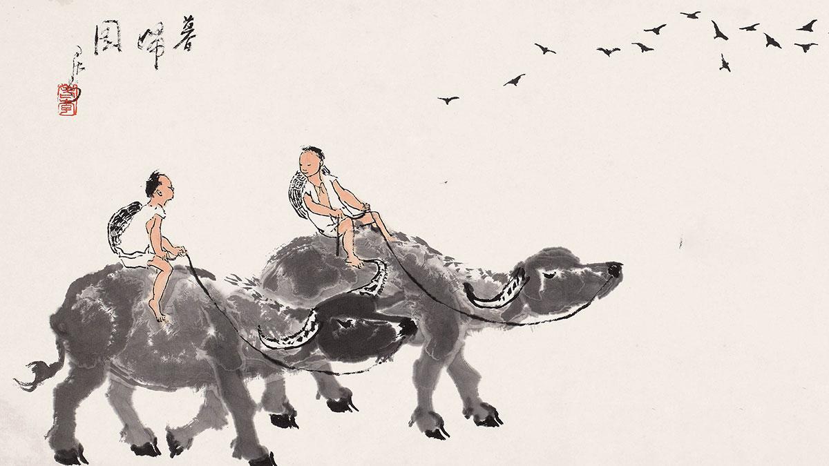 【央视画廊】传世墨迹——李可染画牛 是真的牛!