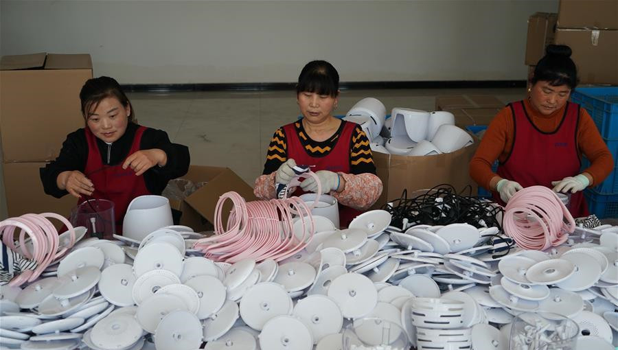 在耿车一家宠物用品公司,工人在组装产品