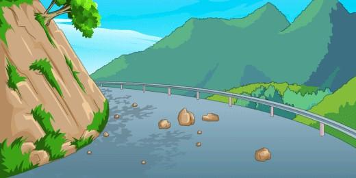 崩塌发生前常有山体掉落土石、小崩小塌现象△△△