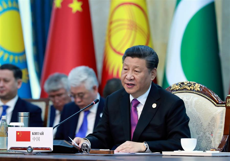 Chinese President Xi Jinping addresses the 19th meeting of the Council of Heads of State of the Shanghai Cooperation Organization (SCO) in Bishkek, Kyrgyzstan, June 14, 2019. (Xinhua/Ding Lin)