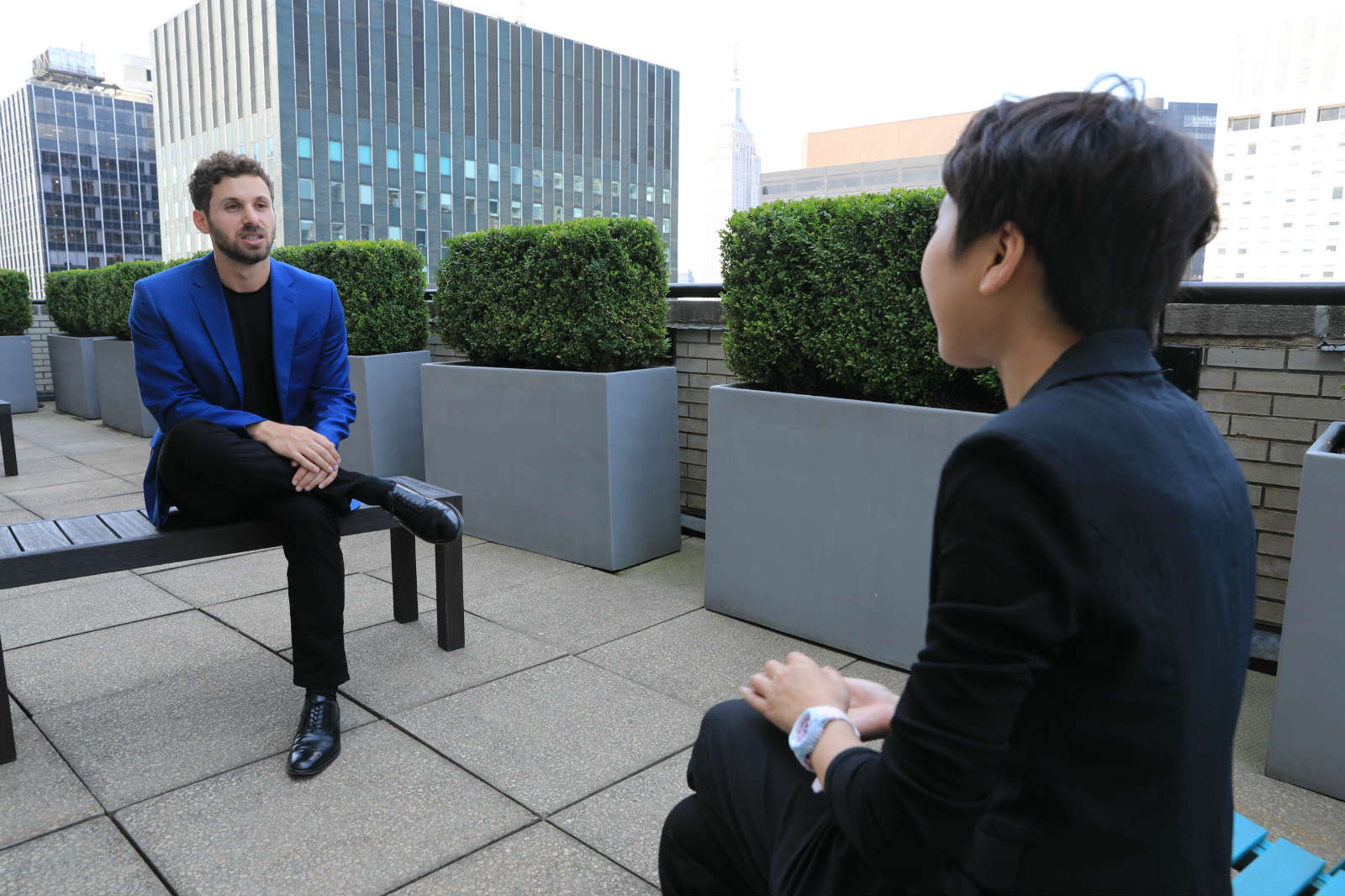 Zak Dychtwald receives an interview with Xinhua in midtown Manhattan of New York, the United States, July 26, 2019. (Xinhua/Zhang Mocheng)