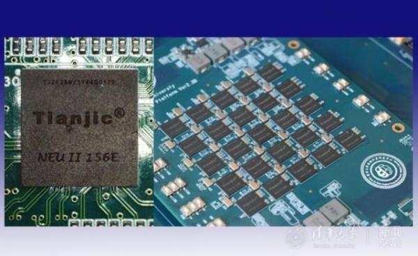 天机芯片单片(左)和5x5阵列扩展板(右)。 清华大学官网 图