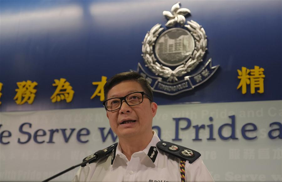 Tang Ping-keung, deputy commissioner of Hong Kong police, speaks during a press briefing at police headquarters in Hong Kong, south China, Aug. 12, 2019. The Hong Kong police said on Monday that they have arrested 149 people during the series of violent protests over the past few days. (Xinhua/Wang Shen)