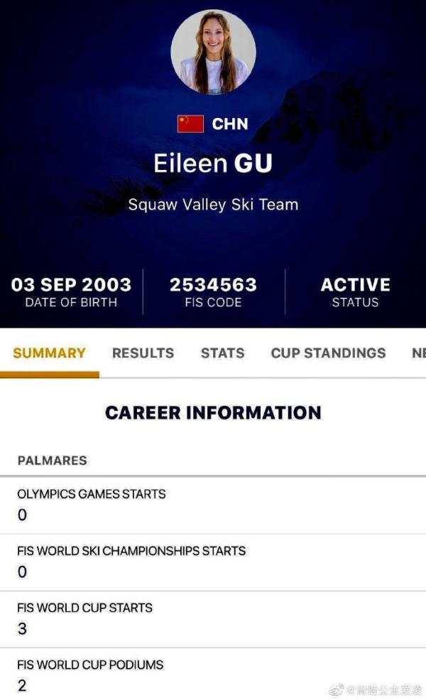 谷爱凌此前晒图宣布自己将代表中国参赛。
