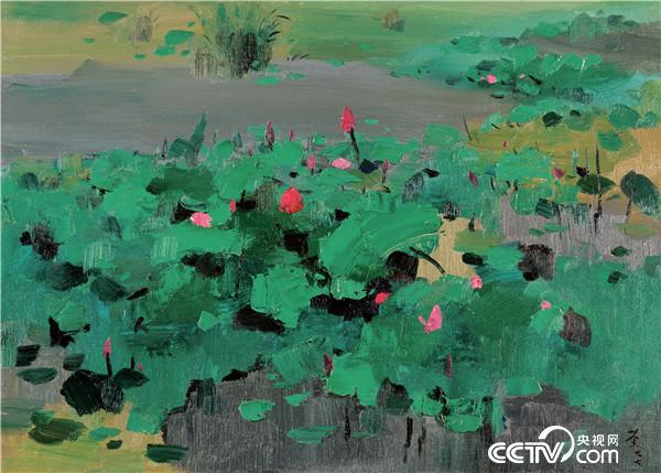 吴冠中 红莲 1997年  66×91厘米 油画