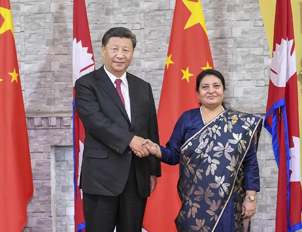 10月12日,国家主席习近平在加德满都总统府会见尼泊尔总统班达里。新华社记者谢环驰摄