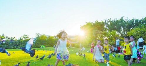 市民在公园畅享绿色生活。(记者林铭鸿摄)