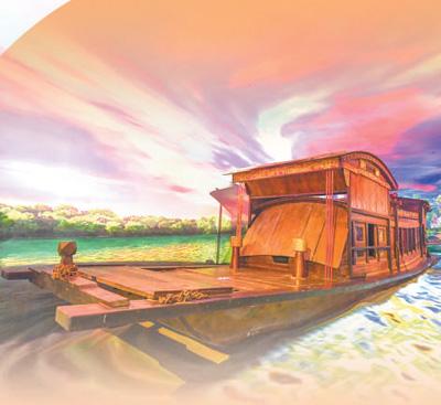 浙江嘉兴南湖革命纪念馆内的红船模型。